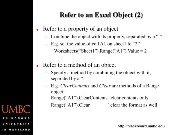 Refer to an Excel Object (2)