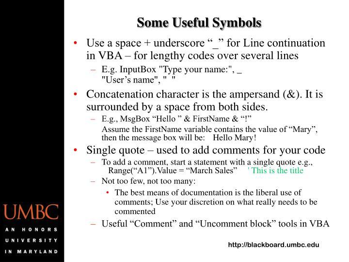 Some Useful Symbols