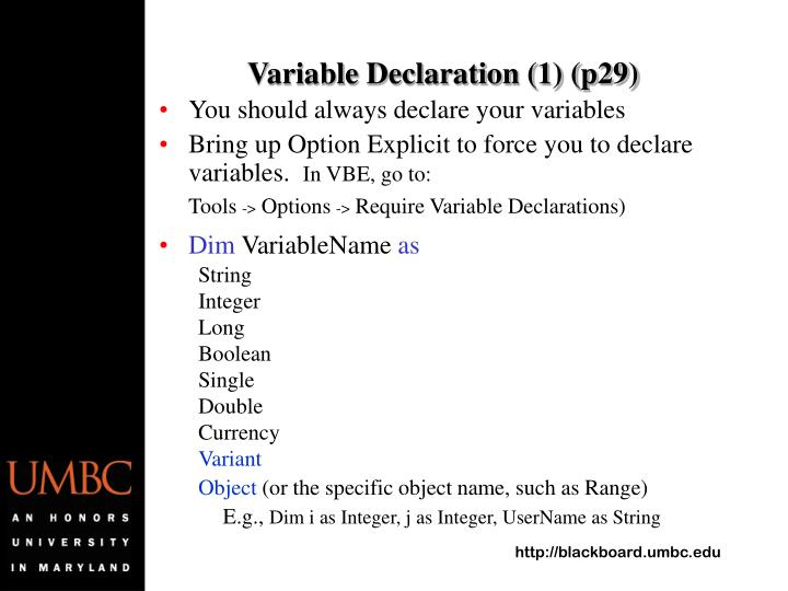 Variable Declaration (1) (p29)