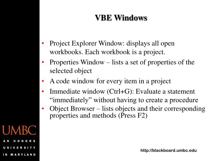 VBE Windows