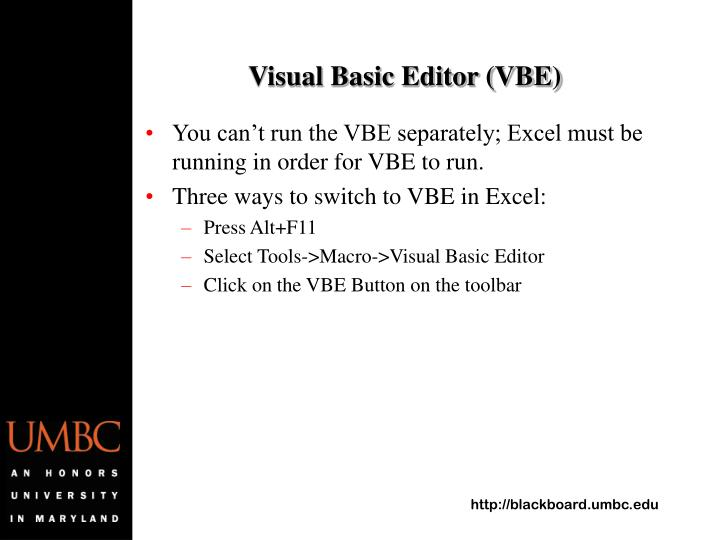 Visual Basic Editor (VBE)