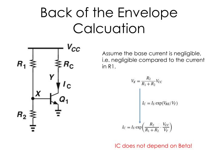 Back of the Envelope Calcuation