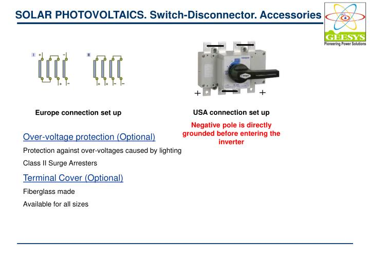 SOLAR PHOTOVOLTAICS. Switch-Disconnector. Accessories