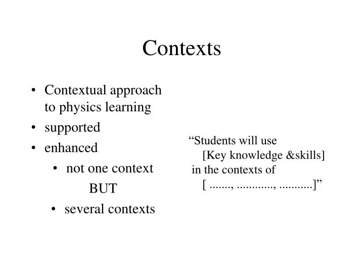 Contextual approach to physics learning