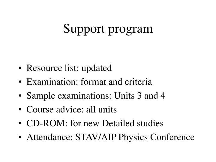Support program
