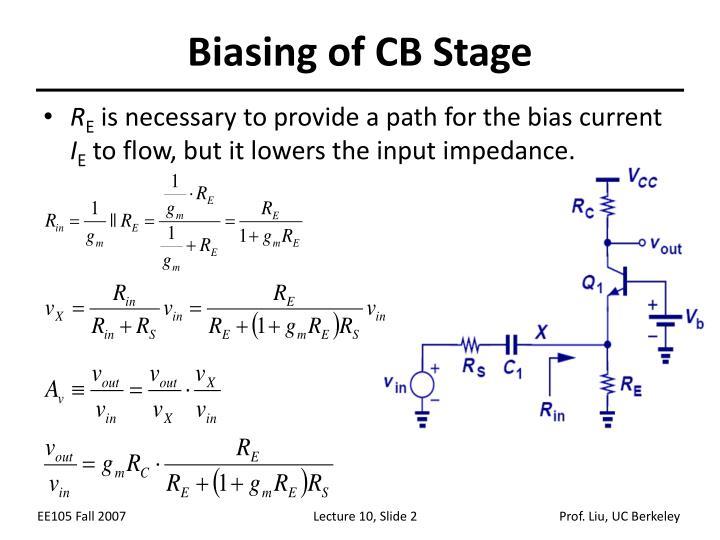 Biasing of CB Stage
