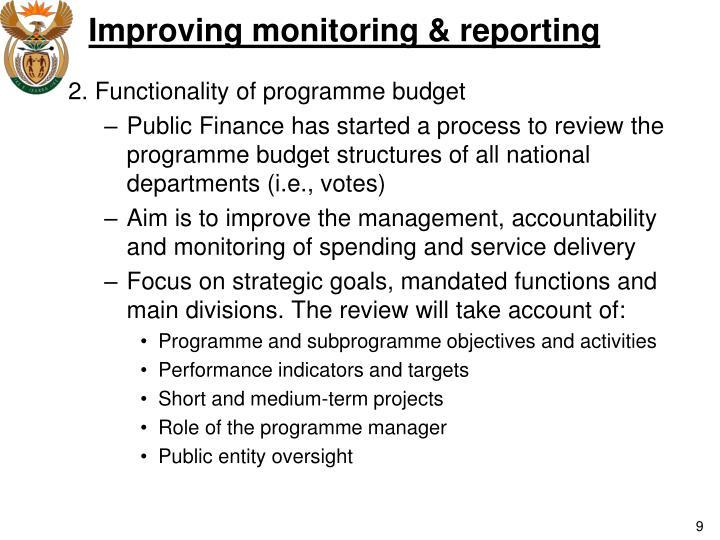 Improving monitoring & reporting