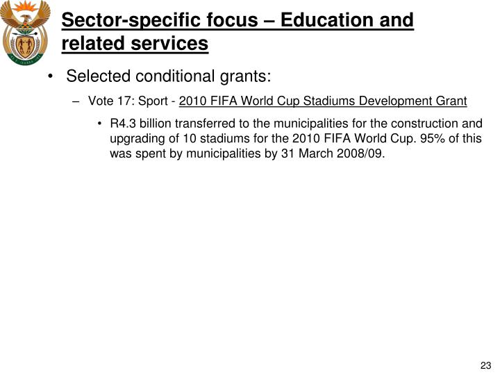 Sector-specific focus – Education and related services