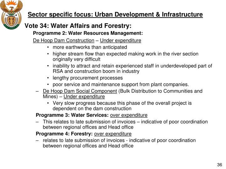 Sector specific focus: Urban Development & Infrastructure