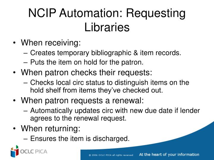 NCIP Automation: Requesting Libraries