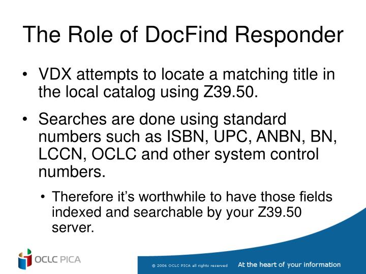 The Role of DocFind Responder