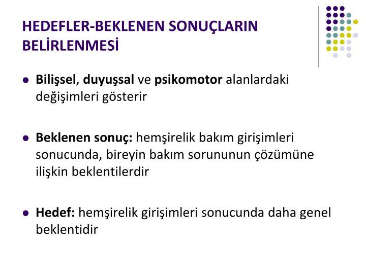 HEDEFLER-BEKLENEN SONUÇLARIN BELİRLENMESİ
