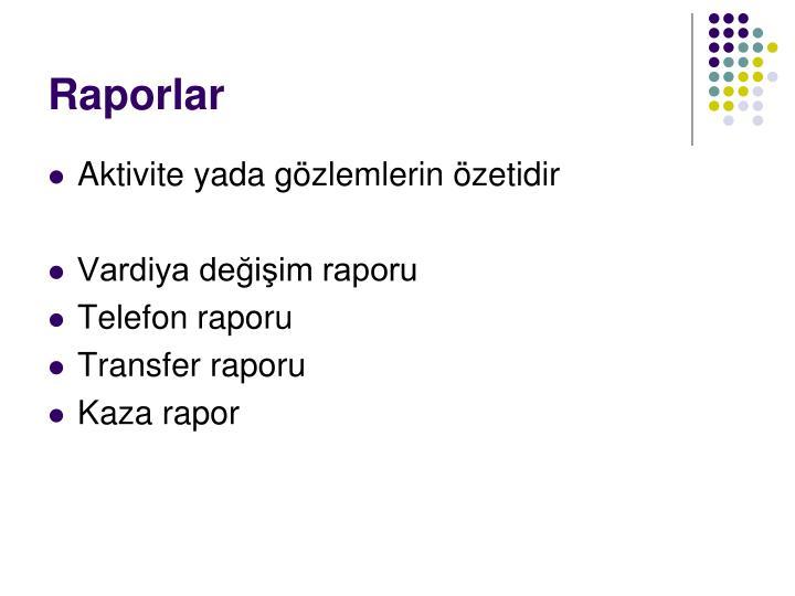 Raporlar