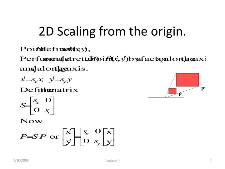 2D Scaling from the origin.
