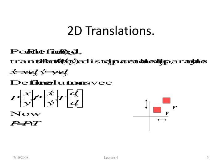 2D Translations.