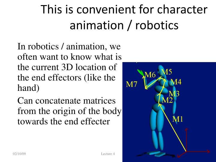 This is convenient for character animation / robotics