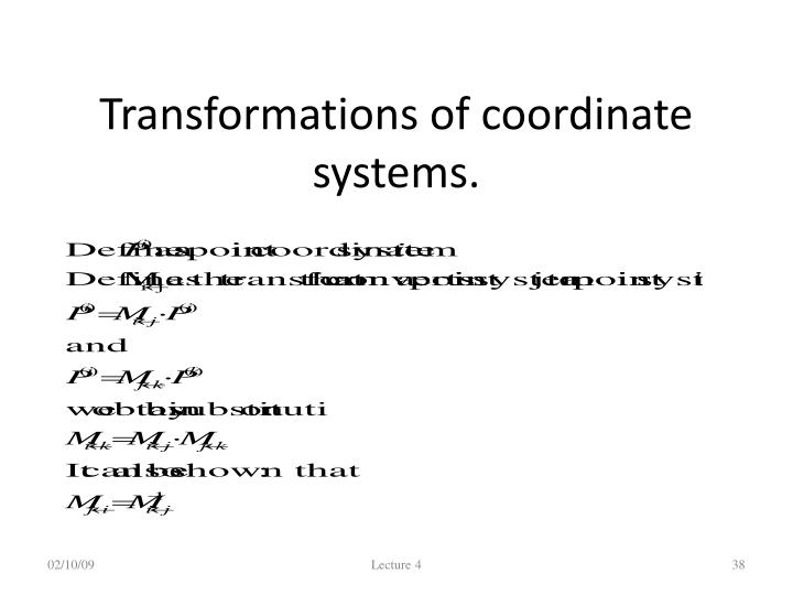 Transformations of coordinate systems.