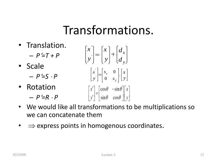 Transformations.