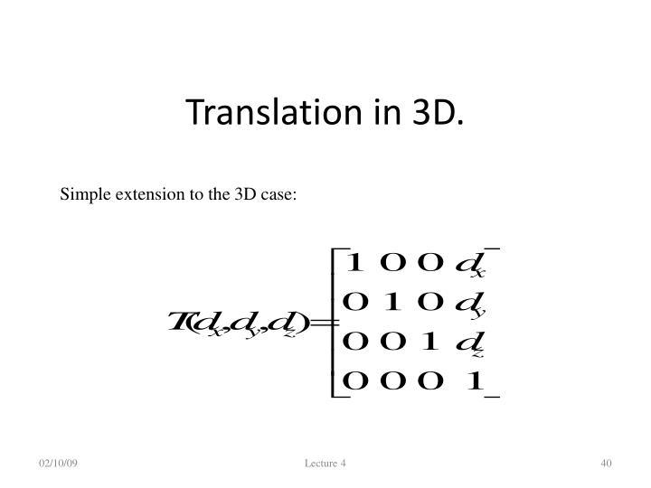 Translation in 3D.