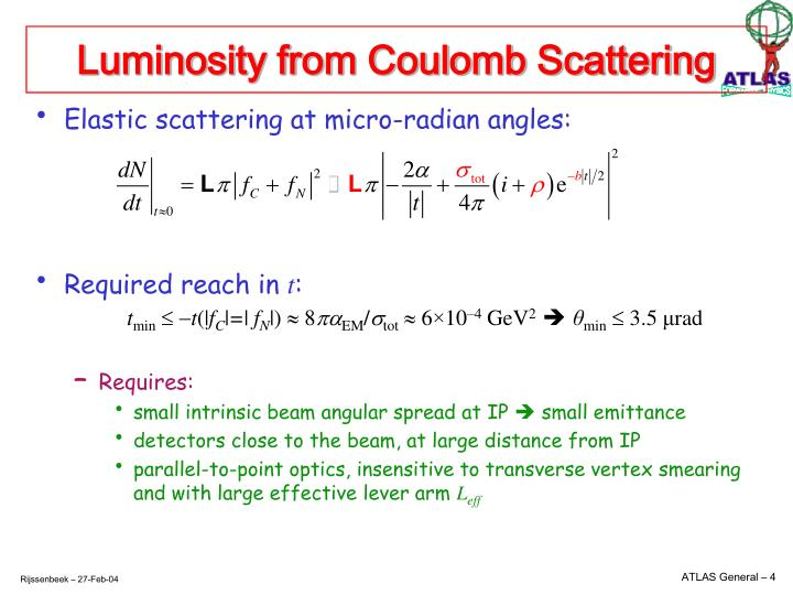 Luminosity from Coulomb Scattering