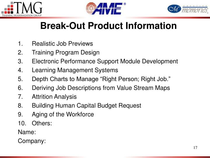 Break-Out Product Information