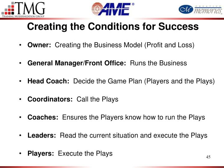 Creating the Conditions for Success