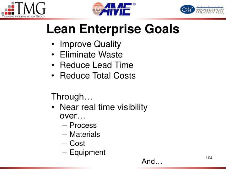 Lean Enterprise Goals