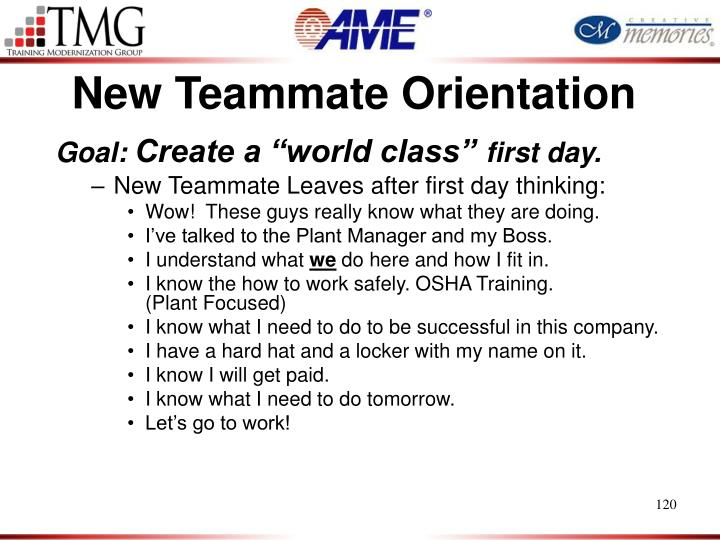 New Teammate Orientation