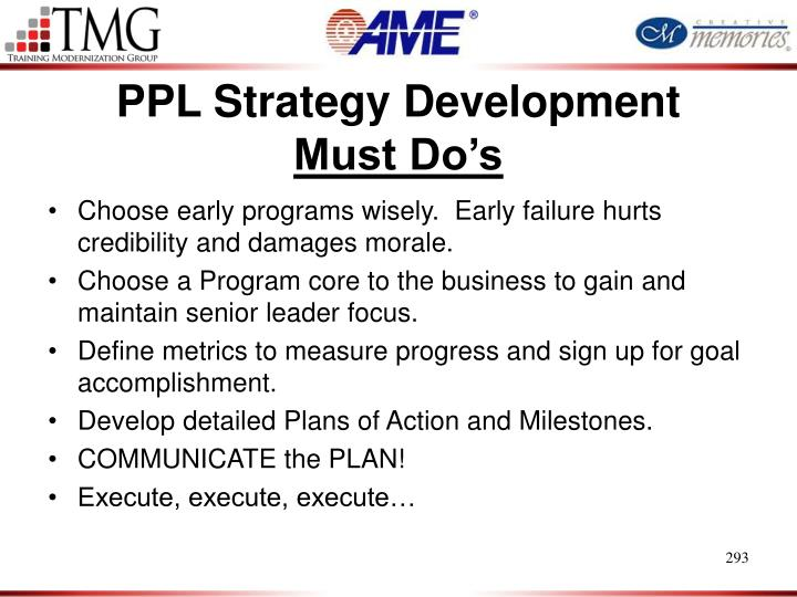 PPL Strategy Development