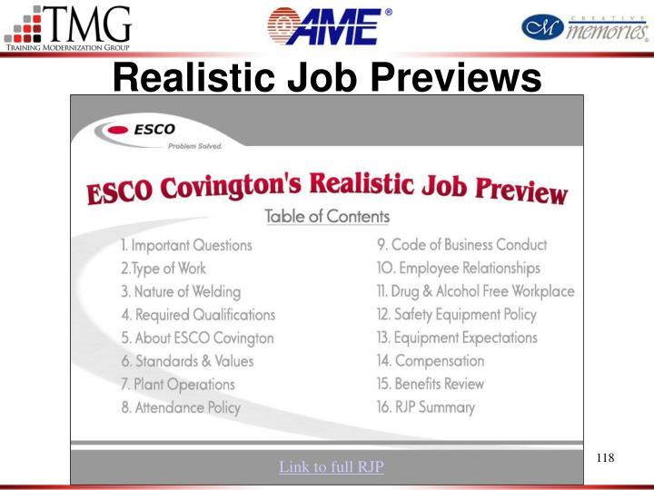 Realistic Job Previews