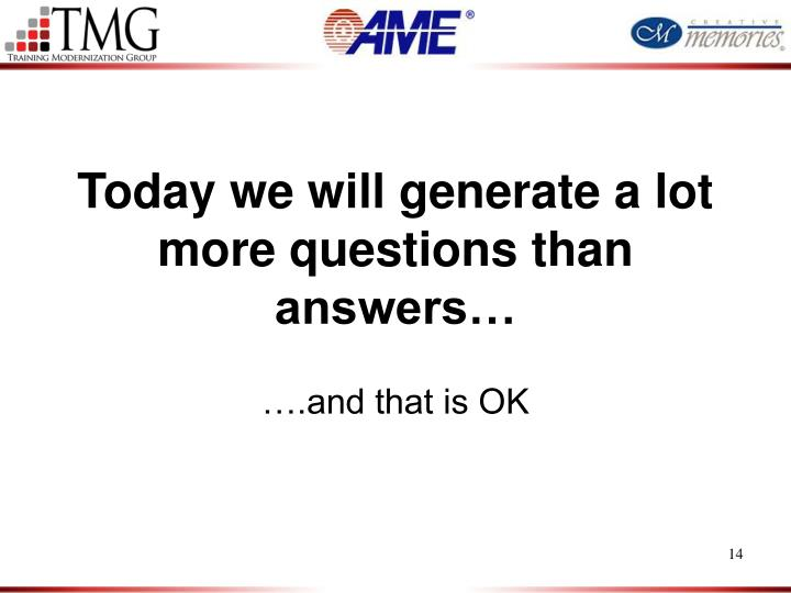 Today we will generate a lot more questions than answers…