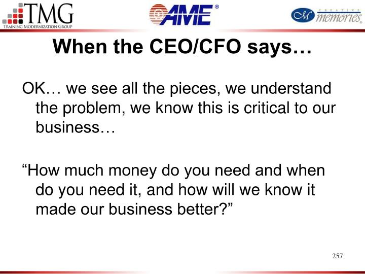 When the CEO/CFO says…
