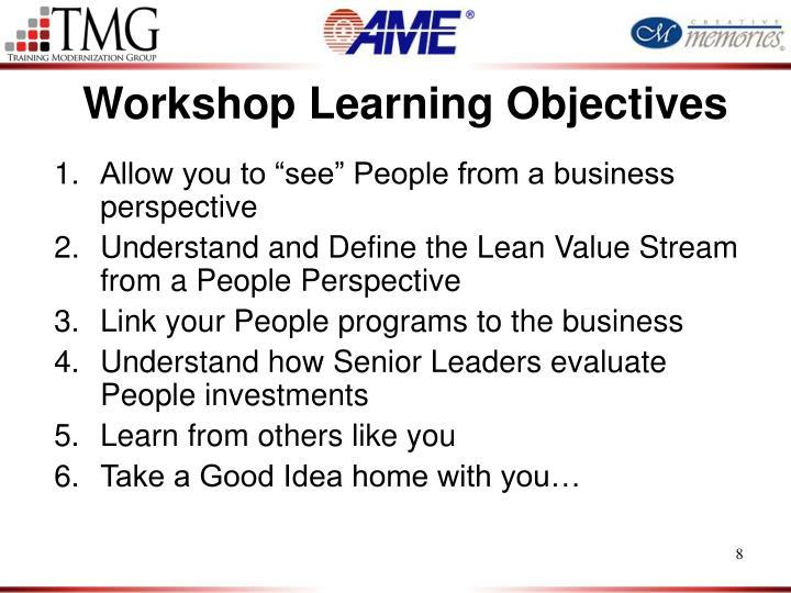 Workshop Learning Objectives