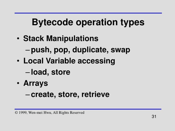 Bytecode operation types