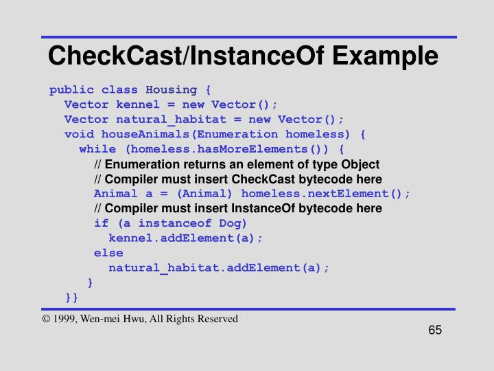CheckCast/InstanceOf Example