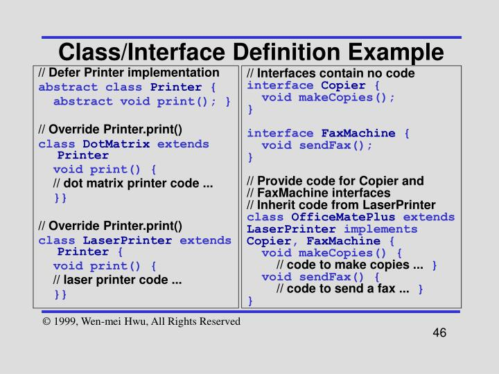 Class/Interface Definition Example