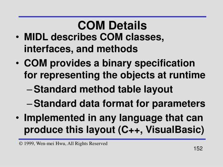 COM Details