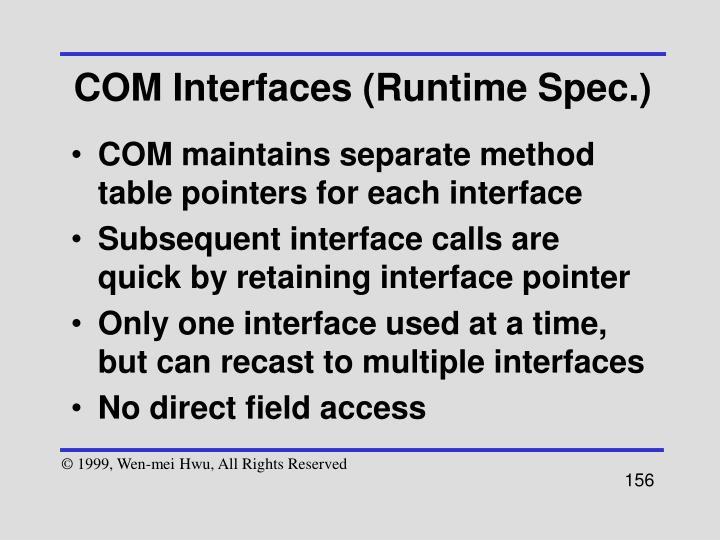 COM Interfaces (Runtime Spec.)