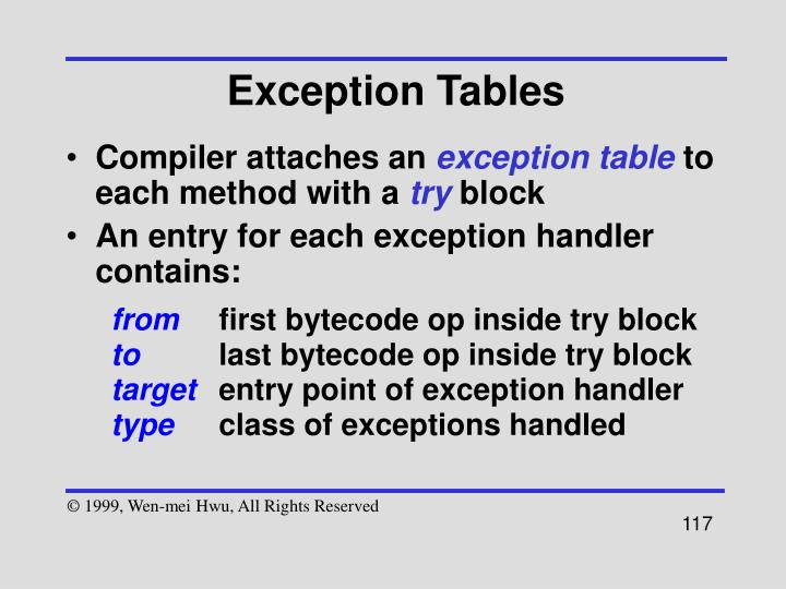 Exception Tables