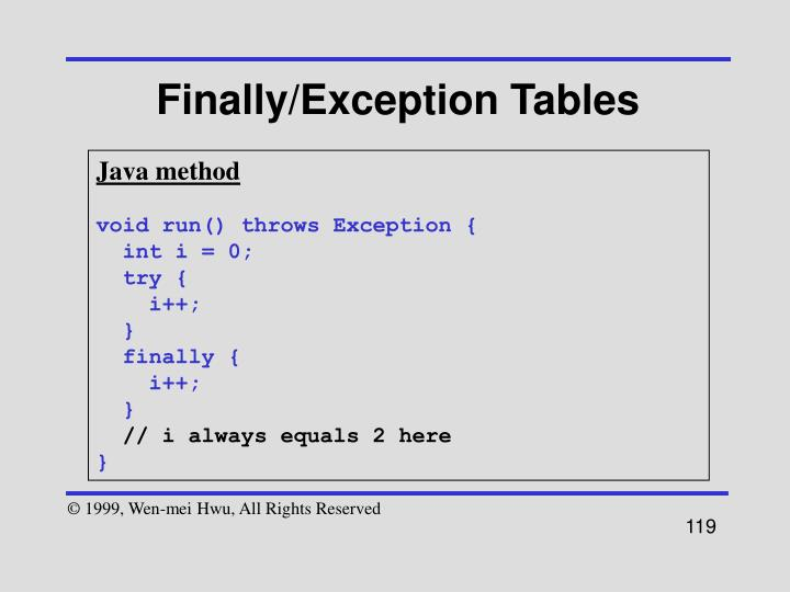 Finally/Exception Tables