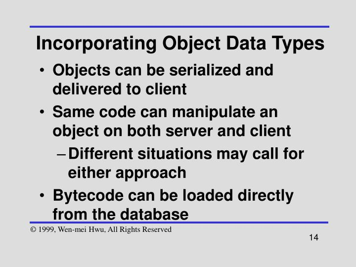 Incorporating Object Data Types