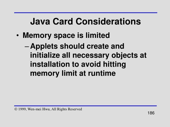 Java Card Considerations