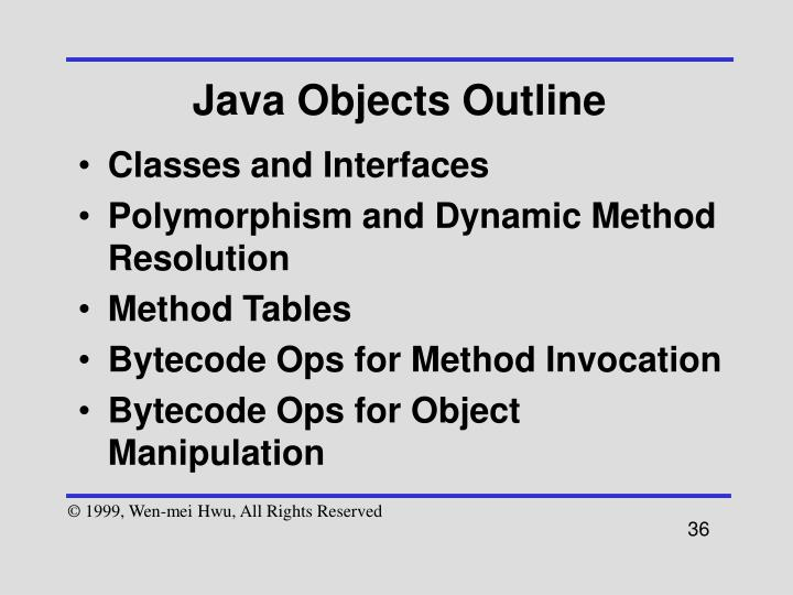 Java Objects Outline