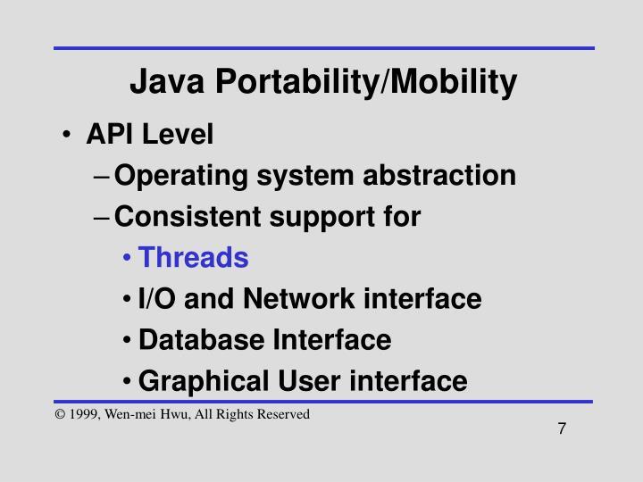 Java Portability/Mobility