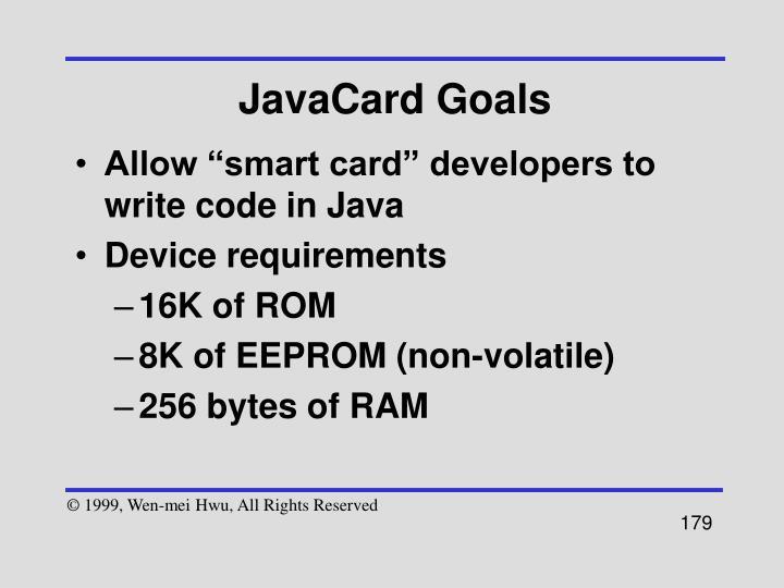 JavaCard Goals