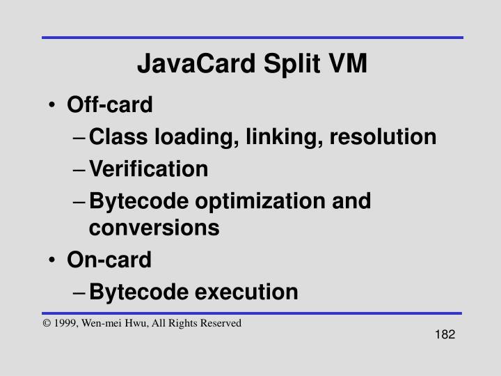 JavaCard Split VM