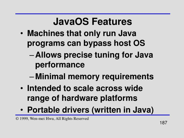 JavaOS Features