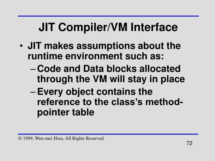 JIT Compiler/VM Interface