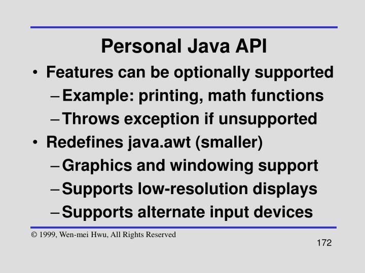Personal Java API