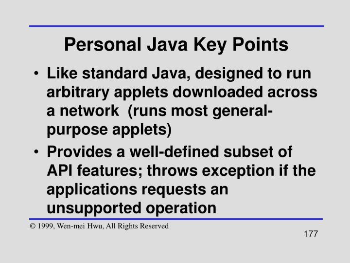 Personal Java Key Points